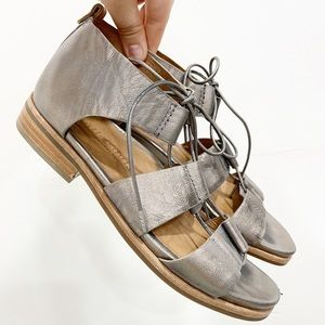 Gentle Souls Fina Lace-Up Leather Sandal Pewter 7